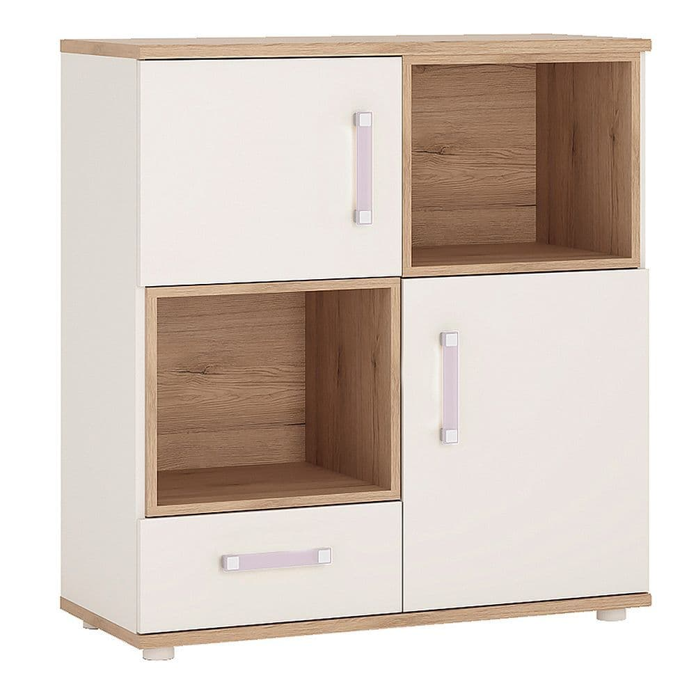Kinder 2 Door 1 Drawer Cupboard, 2 open shelves in Light Oak & white High Gloss (lilac handles)